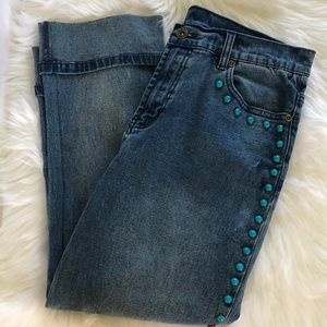 DG2 jeans with turquoise embellishments